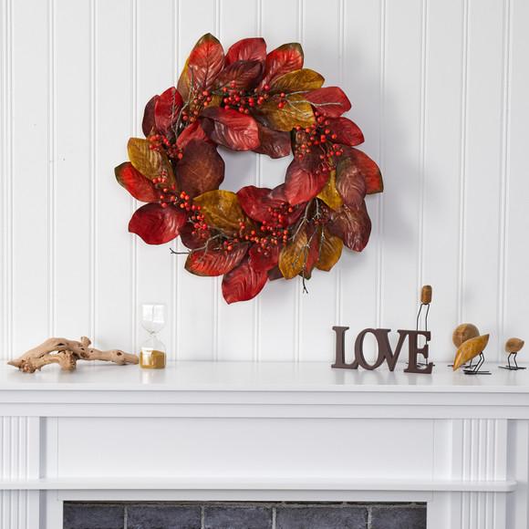 24 Harvest Magnolia Leaf and Berries Artificial Wreath - SKU #4496 - 2