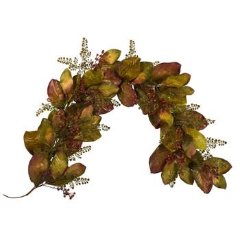 6 Autumn Magnolia Leaf and Berries Artificial Garland - SKU #4497