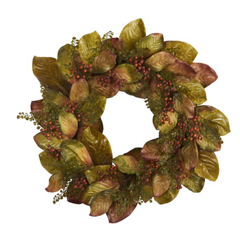 30 Fall Magnolia Leaf and Berries Artificial Wreath - SKU #4498