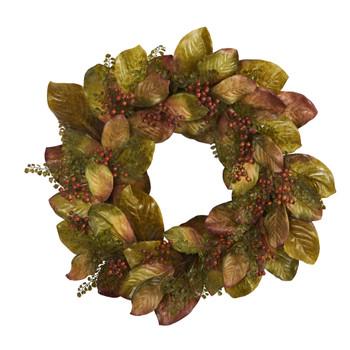 30 Fall Magnolia Leaf and Berries Artificial Wreath - SKU #4498
