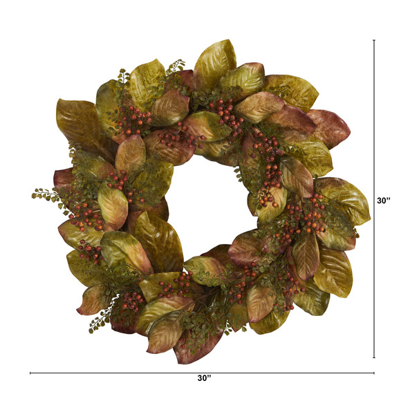 30 Fall Magnolia Leaf and Berries Artificial Wreath - SKU #4498 - 1