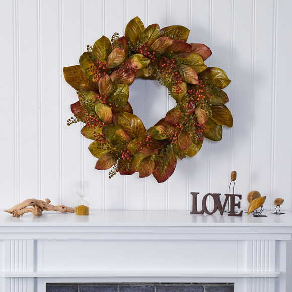 30 Fall Magnolia Leaf and Berries Artificial Wreath - SKU #4498 - 2