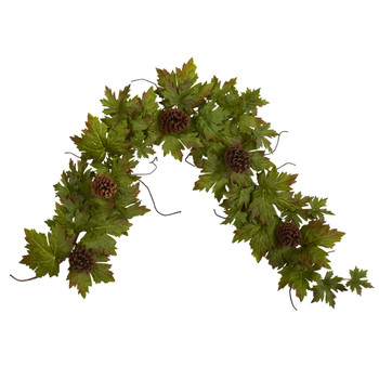 5 Fall Maple Leaf with Pine Cones Artificial Garland - SKU #4499
