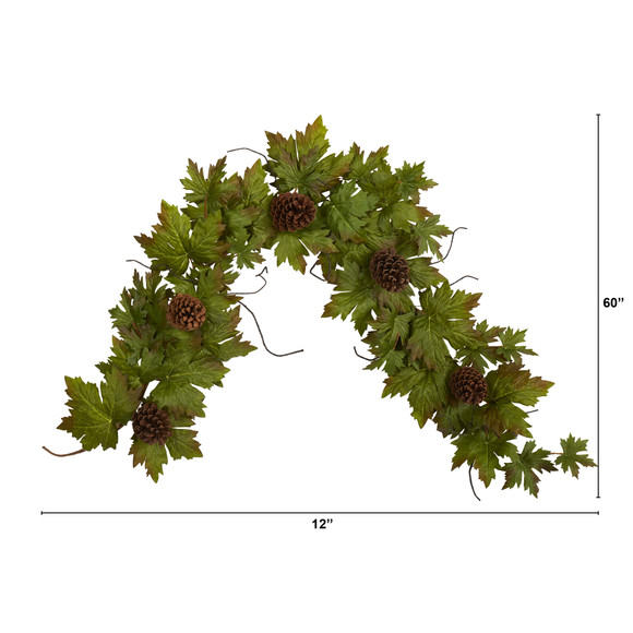 5 Fall Maple Leaf with Pine Cones Artificial Garland - SKU #4499 - 1