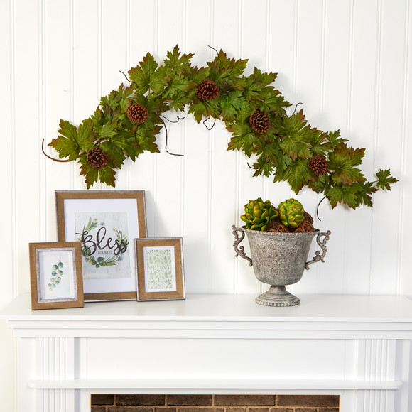 5 Fall Maple Leaf with Pine Cones Artificial Garland - SKU #4499 - 2