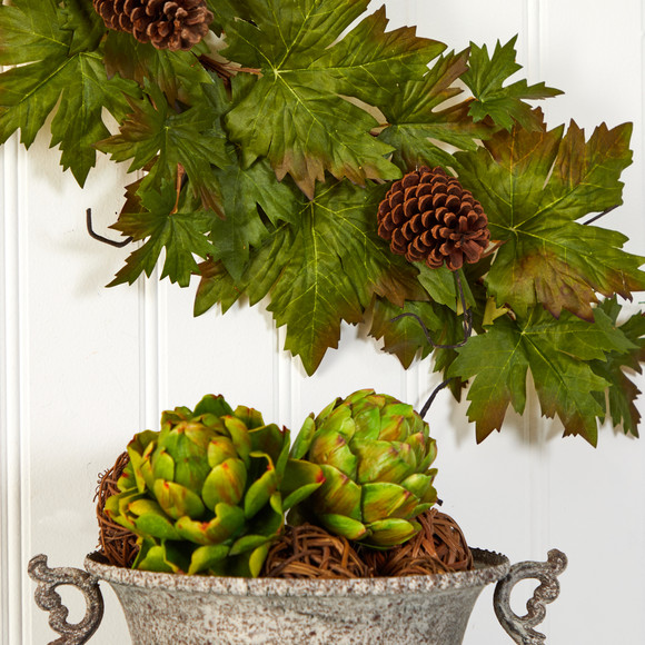5 Fall Maple Leaf with Pine Cones Artificial Garland - SKU #4499 - 3