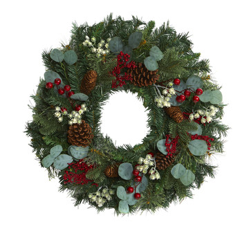 24 Eucalyptus and Pine Artificial Wreath with Berries and Pine Cones - SKU #4506