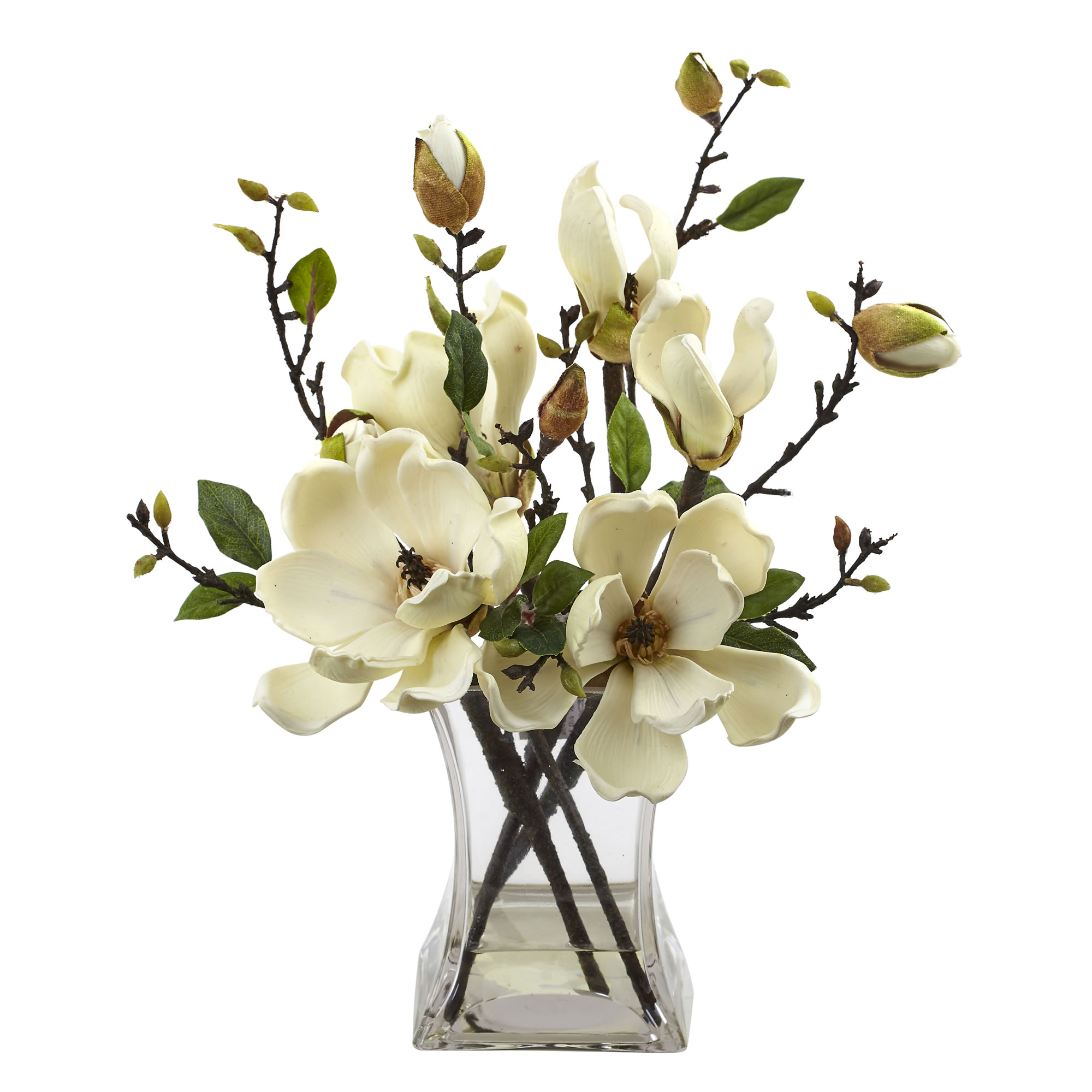 Details About Artificial 15 Magnolia Silk Flowers Floral Arrangement In Faux Water Glass Vase