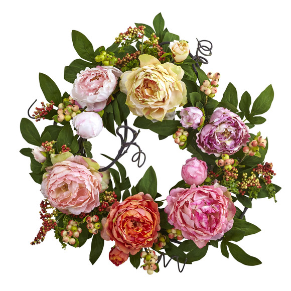 20 Mixed Peony Berry Wreath - SKU #4537