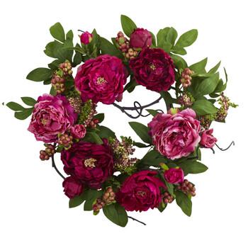 20 Peony Berry Wreath - SKU #4538