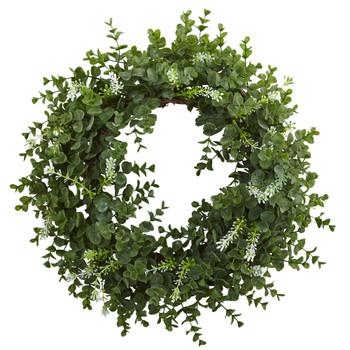 18 Eucalyptus Double Ring Wreath w/Twig Base - SKU #4541