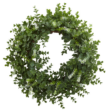 18 Eucalyptus Double Ring Wreath w/Twig Base - SKU #4541
