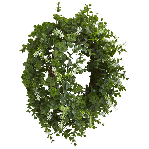 18 Eucalyptus Double Ring Wreath w/Twig Base - SKU #4541 - 1