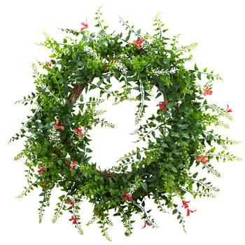 18 Floral Fern Double Ring Wreath w/Twig Base - SKU #4542
