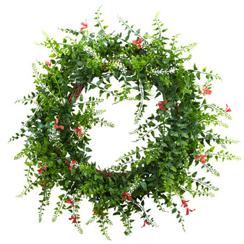 18 Floral Fern Double Ring Wreath w/Twig Base - SKU #4542