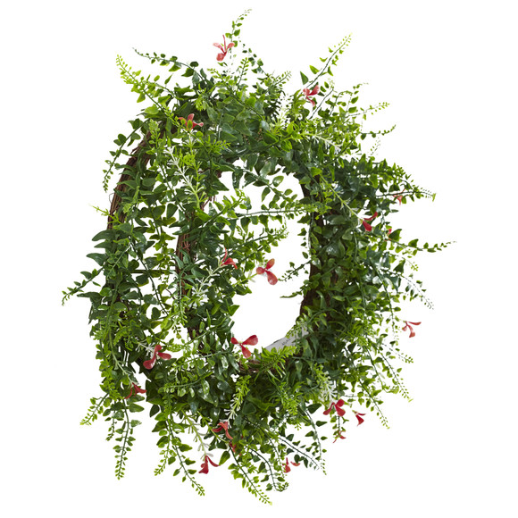 18 Floral Fern Double Ring Wreath w/Twig Base - SKU #4542 - 1