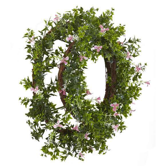 18 Mini Ivy Floral Double Ring Wreath w/Twig Base - SKU #4543 - 1