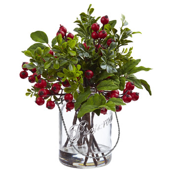 Berry Boxwood in Glass Jar - SKU #4545