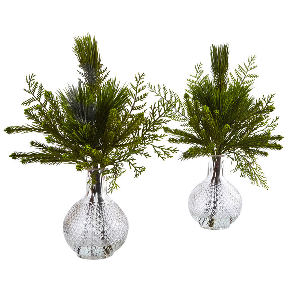 Mixed Pine in Glass Vase - SKU #4546-S2