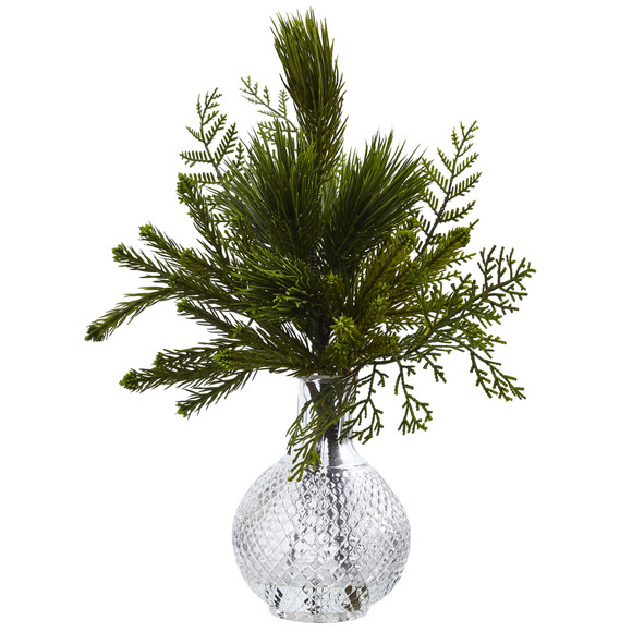 Mixed Pine in Glass Vase - SKU #4546-S2 - 1