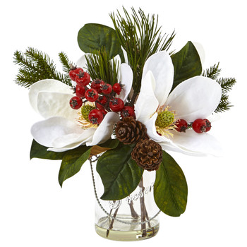 Magnolia Pine and Berry in Glass Vase - SKU #4548