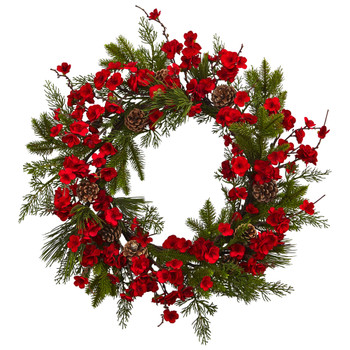 24 Plum Blossom Pine Wreath - SKU #4551