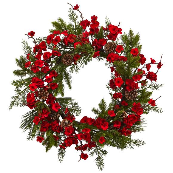 24 Plum Blossom Pine Wreath - SKU #4551
