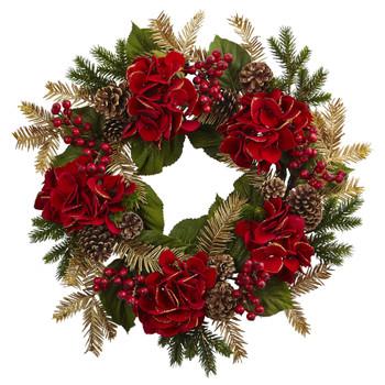 24 Hydrangea Pine Wreath - SKU #4552