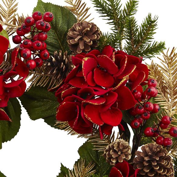 24 Hydrangea Pine Wreath - SKU #4552 - 1