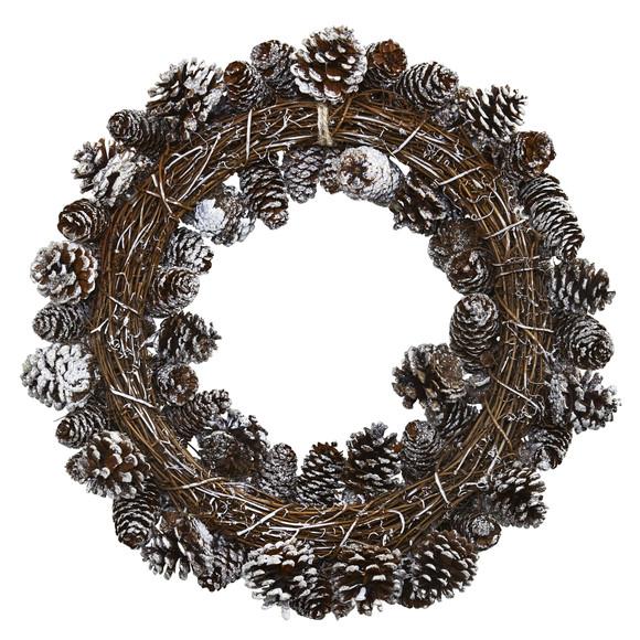 Snowy Pine Cone Wreath - SKU #4553 - 1