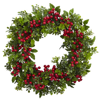 24 Berry Boxwood Wreath - SKU #4555