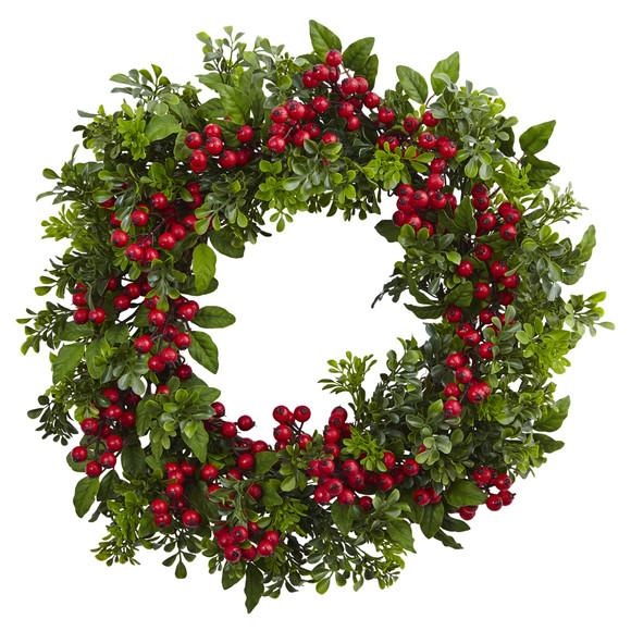 24 Berry Boxwood Wreath - SKU #4555