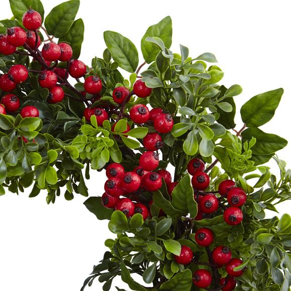 24 Berry Boxwood Wreath - SKU #4555 - 1