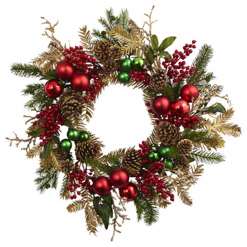 24 Ornament Pine Pine cone Wreath - SKU #4556