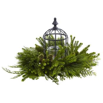 Mixed Pine Birdhouse Candelabrum - SKU #4561