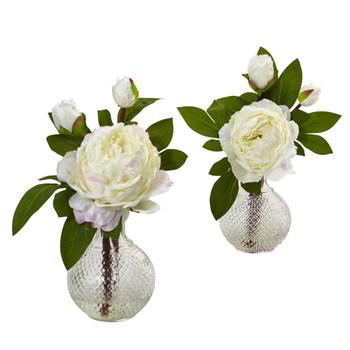 11 Peony with Vase Set of 2 - SKU #4576-S2