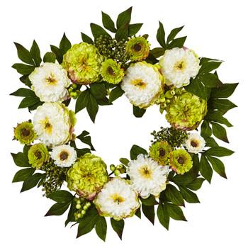 24 Peony Mum Wreath - SKU #4579
