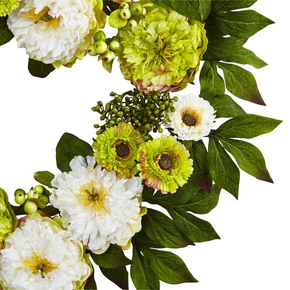 24 Peony Mum Wreath - SKU #4579 - 1