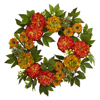 24 Peony and Mum Wreath - SKU #4580