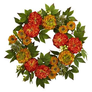 24 Peony and Mum Wreath - SKU #4580