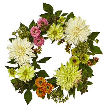 22 Dahlia Mum Wreath - SKU #4583