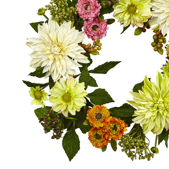 22 Dahlia Mum Wreath - SKU #4583 - 1