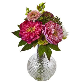 Peony and Mum in Glass Vase - SKU #4584