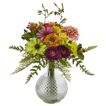 Mixed Flower in Glass Vase - SKU #4585