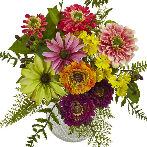 Mixed Flower in Glass Vase - SKU #4585 - 1