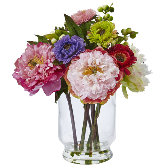Peony and Mum in Glass Vase - SKU #4586