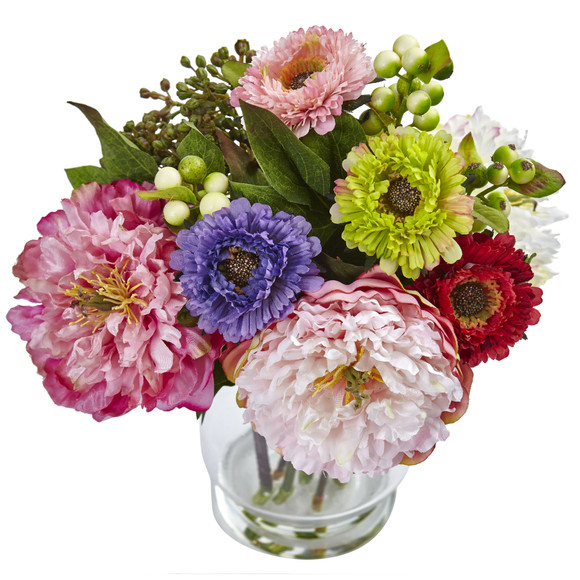 Peony and Mum in Glass Vase - SKU #4586 - 1