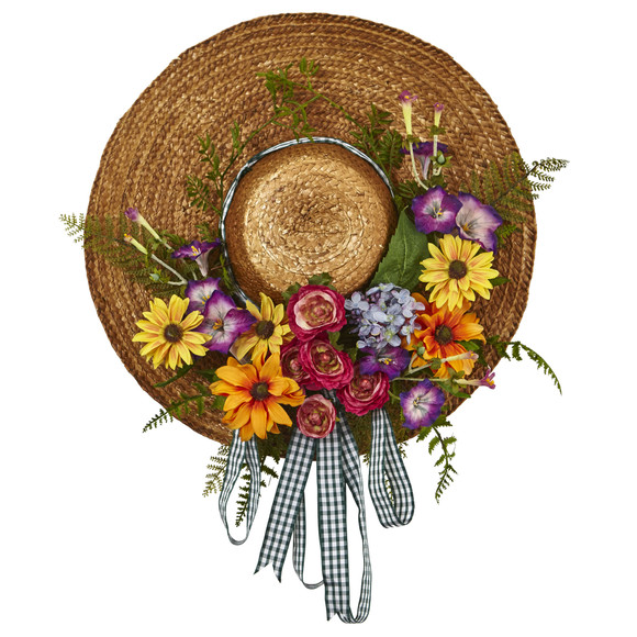 Mixed Flower Hat Wreath - SKU #4587
