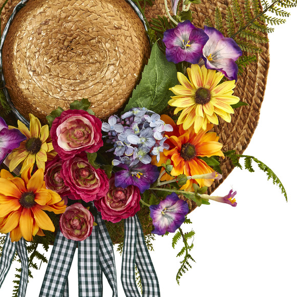 Mixed Flower Hat Wreath - SKU #4587 - 1