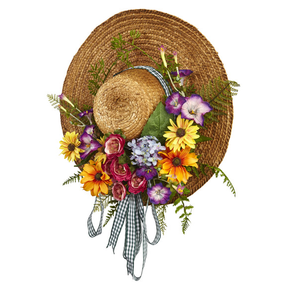 Mixed Flower Hat Wreath - SKU #4587 - 2